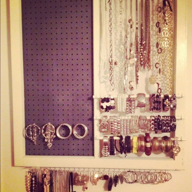 """As a fashionista with a """"type A"""" personality, this is something that I was inspired to create for myself in order to organize and display my accessories!  Because I love antiques, I also love the fact that I was able to successfully re-purpose an antique window in the process! This is one of my proudest DIY moments!"""
