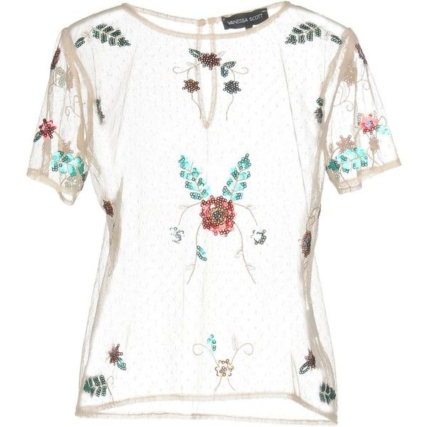 Vanessa Scott T-shirt (75 CAD) ❤ liked on Polyvore featuring skin colour, white short sleeve top, sequin t shirt, white short sleeve t shirt, short sleeve t shirt and sequin embellished top