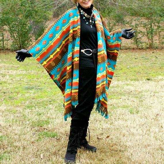 Native American Rugs In Santa Fe: Southwestern Santa Fe Native Design Fleece Shawl, Poncho