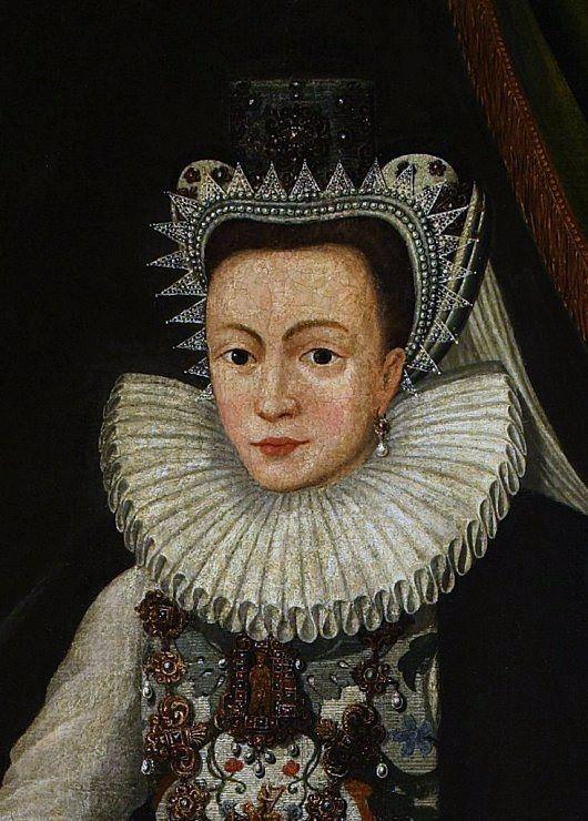 """""""Portret Katarzyny z Lubomirskich Ostrogskiej"""", malarz nieznany, 1597 - detal."""