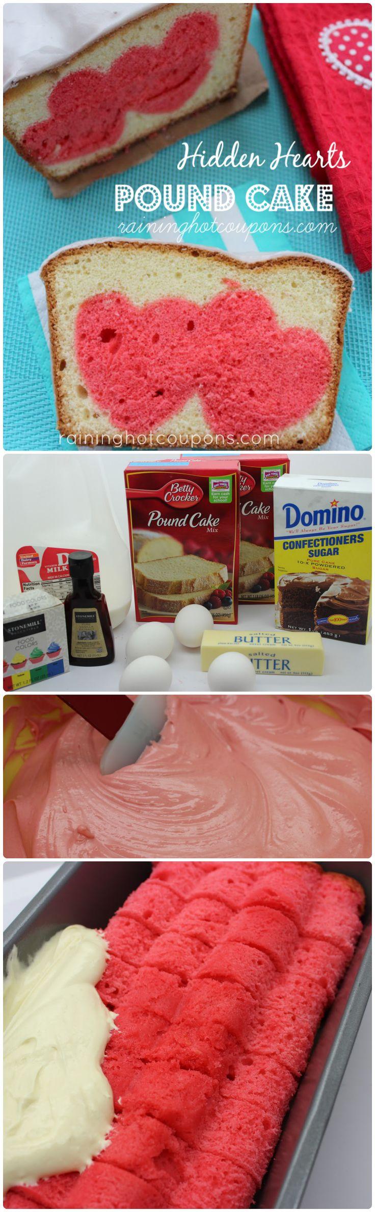 hidden hearts pound cake collage Hidden Hearts Pound Cake