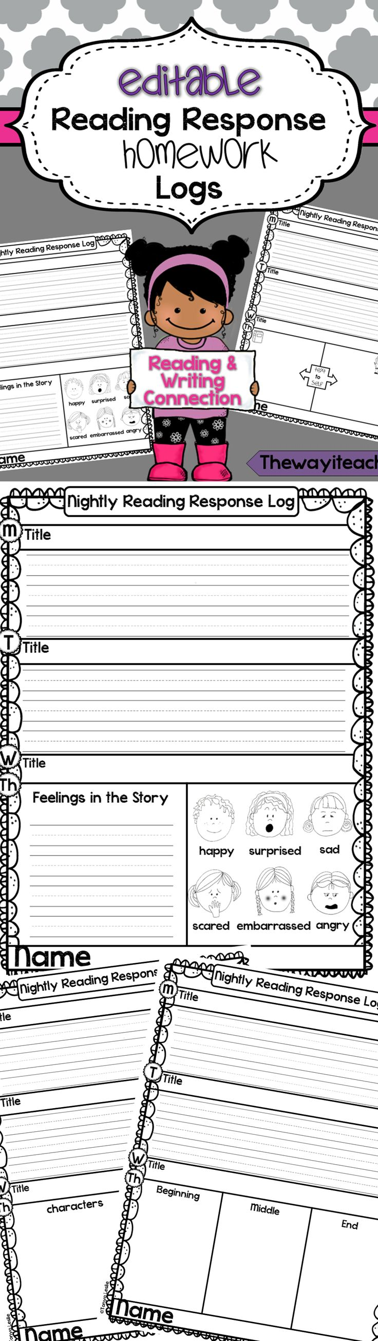 Reading Log: Reading Response Homework Logs. Editable Newsletter Pages