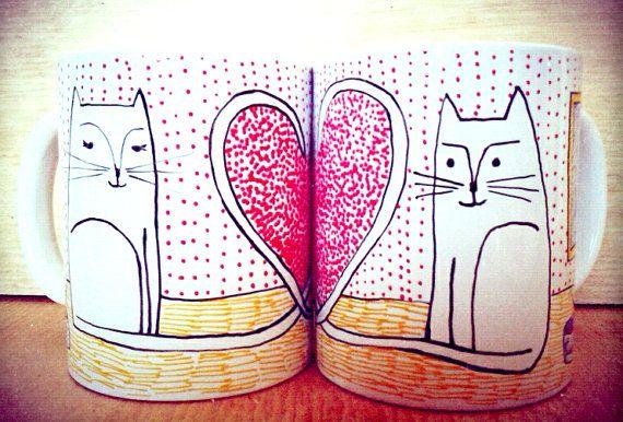 CatsInLove Mug set. by YavallaDiseno on Etsy, $25.00