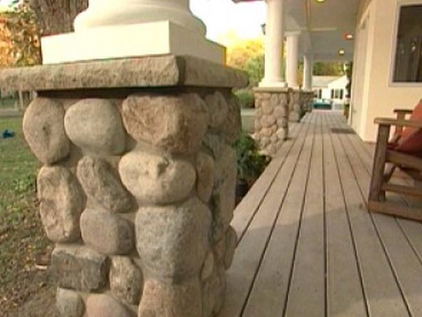 DIY Stone porch columns already have the stones in yard! could do this