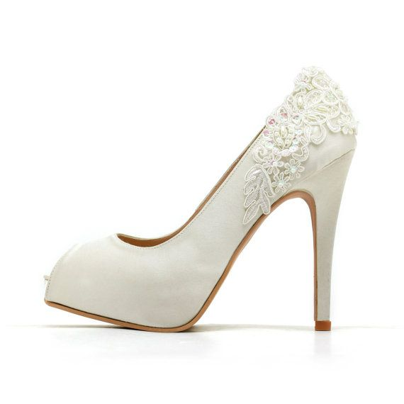 These ivory white wedding heels you see are handcrafted from high quality satin, beaded lace, fabric, genuine cow leather and other man made