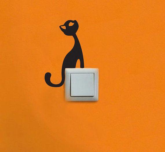 Schöne Katze Vinyl Aufkleber für Licht Schalter / Stecker