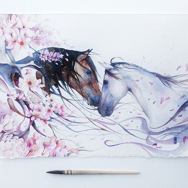 """""""SOULMATE"""" """"Nothing can cure the soul but the senses, just as nothing can cure the senses but the soul."""" Watercolour on Arches aquarel watercolour paper 300gsm size 28x38cm.  #watercolour #watercolor #horses #horse #illustration #sakura by #jongkie #art #artwork #painting"""