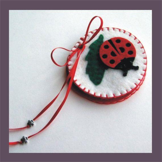Wool Felt Needlebook - Ladybug Decorative Sewing Pins @Angela Gray Gray Gray Cunningham