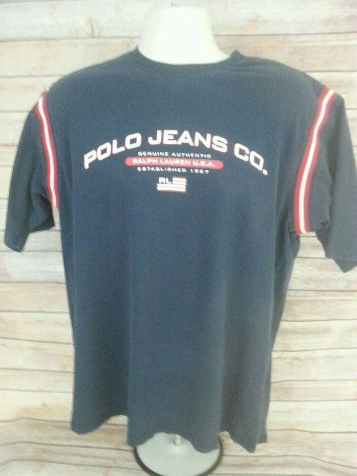 Vintage Ralph Lauren Navy POLO JEANS USA FLAG RL67  T-Shirt Size M Red Stripe FS #PoloJeansCo #GraphicTee