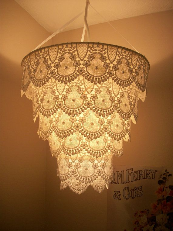 Look just like a cake! XD    Venise Lace Faux Chandelier Pendant Lamp Shade by cokiethebaby, $30.00