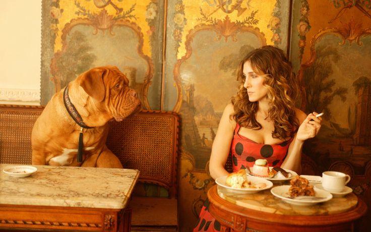 sarah jessica parker, актриса, мастиф, девушка, собака, sex and the city, девушки с собаками 1440x900