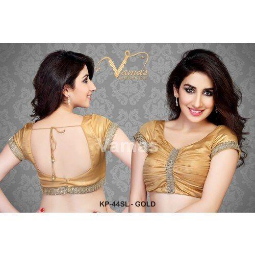 Shiny gold saree blouse  - Kp 44slg - gold. Muhenera presents vamas designer collection