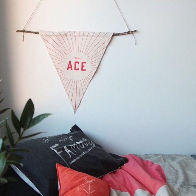 'You're Ace' Wall Flag by Pony Rider Available now at inside.com.au . . . ❤️ https://inside.com.au/pony-rider-you-re-ace-wall-flag #inside #insideonline #ponyrider #yourace #wallflag #decor #design #interior #organic #screenprint #linen