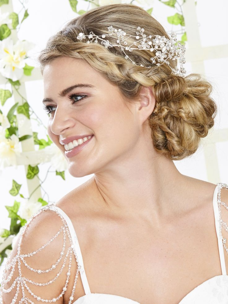 AR541 & ARN100 Intricate beaded cap sleeves of hand strung crystal and pearl with small diamantes dotted throughout the piece and crystal drops dangling from the bottom. Perfect for adding vintage detailing to the shoulders of a simple style wedding dress.