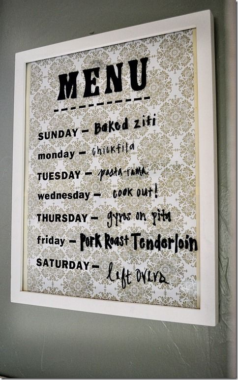 love this menu board -  frame, paper, and a dry erase marker. (can add magnets to back to stick on fridge):