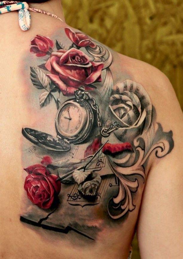 Tattoo rote Rosen Taschenuhr Noten