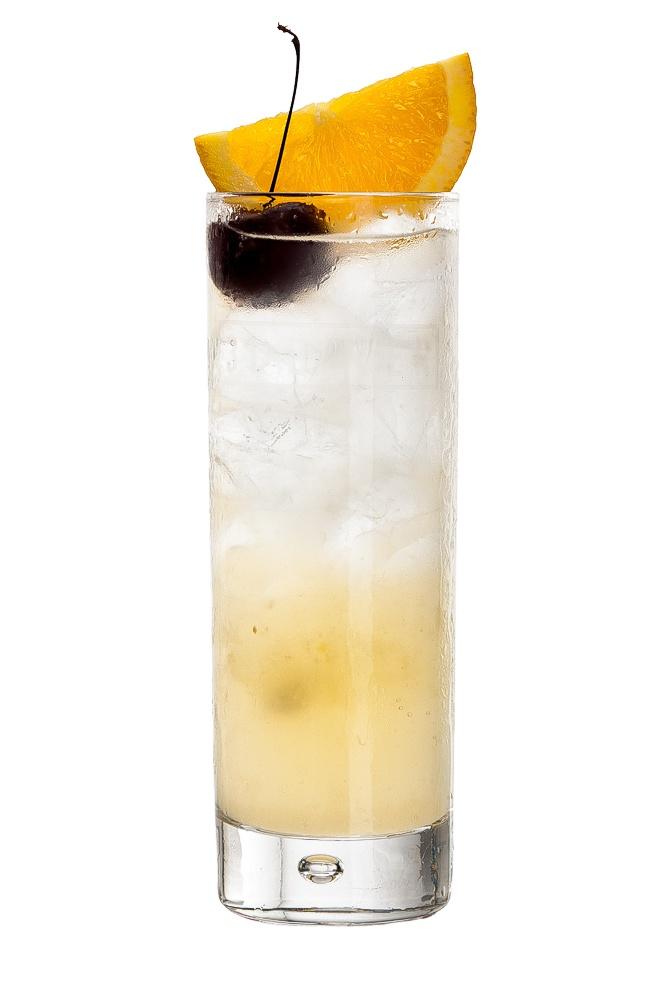 TOM COLLINS : INGREDIENTS -   2 measures Gin  1 measure freshly Squeezeed lemon juice,  3/4 measure Sugar syrup (sugar 2:1 water)  Top up with Soda water  Garnish    Orange slice and cherry (sail)  INSTRUCTIONS - 1 Shake gin, lemon juice and sugar syrup with ice. 2 Strain into a glass of ice. 2 Top up with soda water, stir. HOW TO SERVE IT -   Serve in a Collins glass  Garnish with an orange slice and cherry
