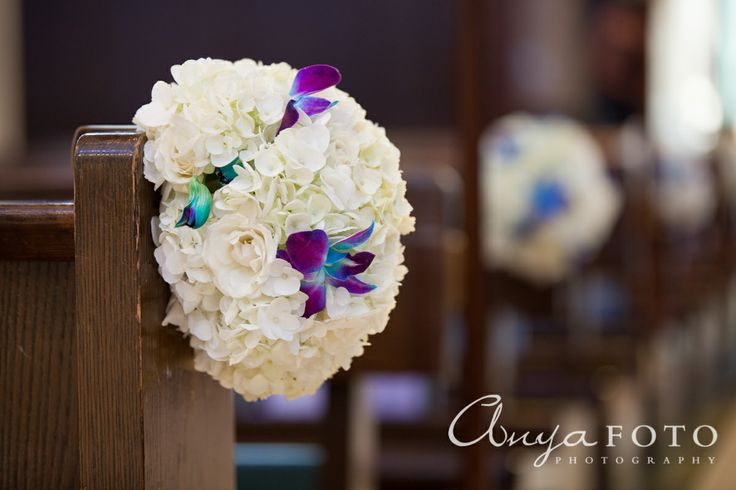 Wedding Ceremony Decor anyafoto.com #wedding, church wedding, indoor wedding, wedding ceremony decor ideas, flowers on pews, orchids on pews, roses on pews