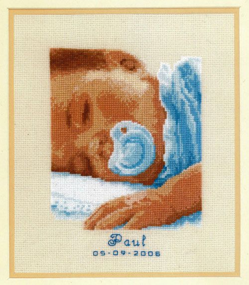 Bordalia, Kit cuadro punto de cruz cara de bebe azul
