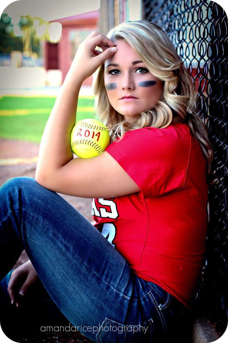 Softball Picture Pose. I like against the fence - not sure about ball placement.
