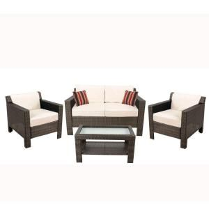 Hampton Bay Beverly 4piece Patio Deep Seating Set With Beverly Beige  Cushions   Hampton Bay Outdoor