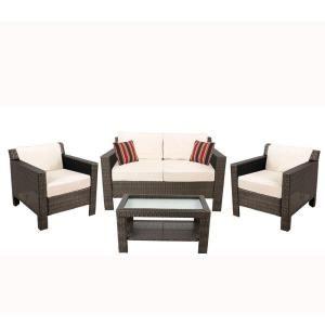 Hampton Bay Beverly 4Piece Patio Deep Seating Set with