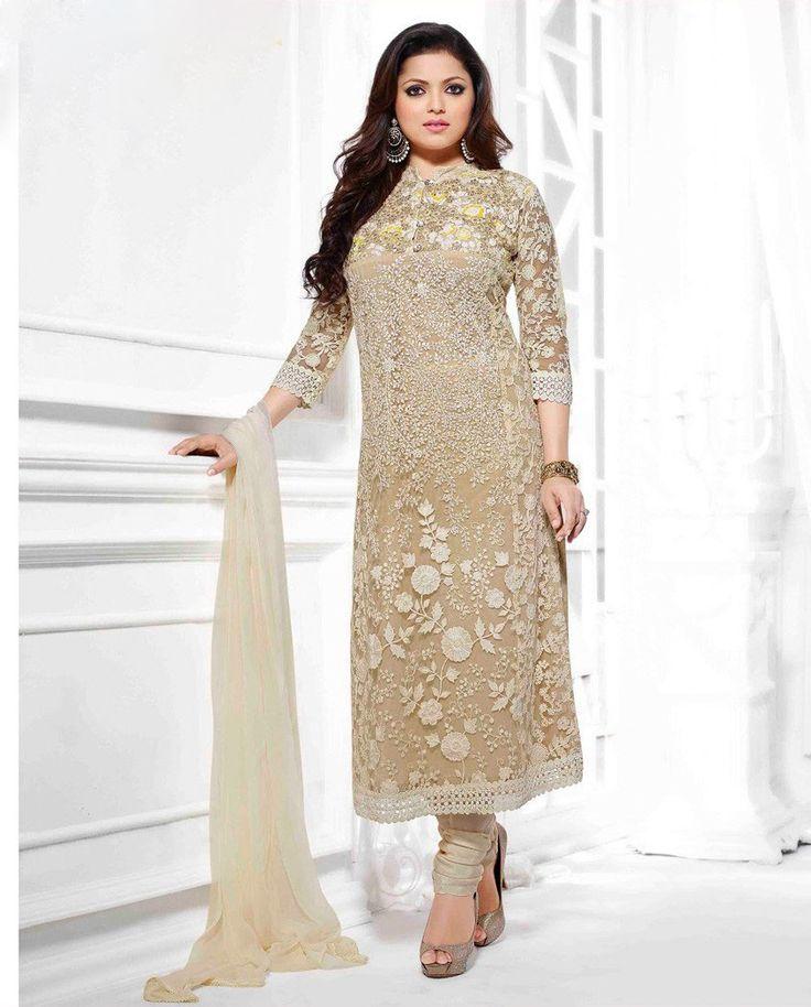 Party wear Cream Straight Salwar Suit  #salwarsuit #designer #ethnicsuit #shopvoie #pakistanisuit #anarkalisuit #partywear #fancysuit