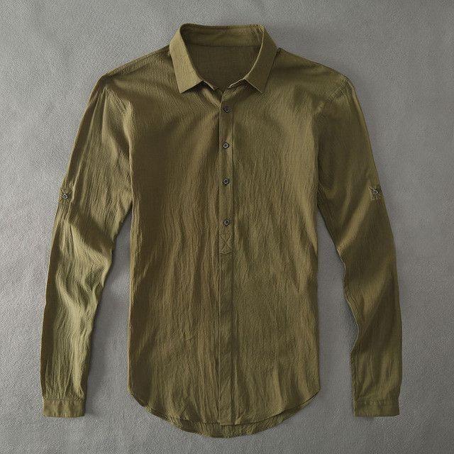 Casual Hawaiian Shirts Men Cotton Linen Designer