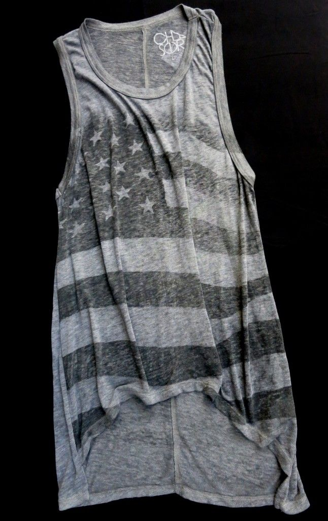 charcoal hi-low American flag muscle shirt by Chaser