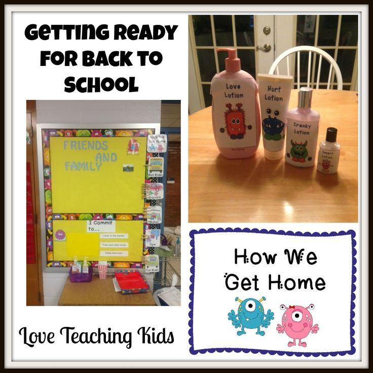 Getting Ready for Back to School with Friends and Family Board, Commitment board, Calming lotion, and How I get Home cards.