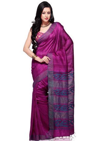 Magenta Matka Silk  http://www.utsavfashion.com/saree/magenta-pure-matka-silk-bengal-handloom-saree-with-blouse/saba22-itemcode