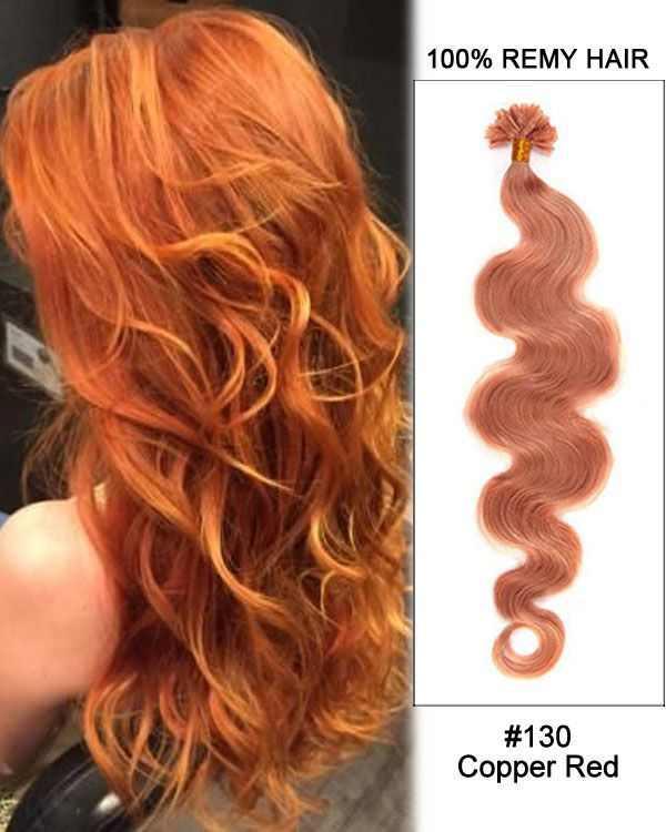 16 130 Copper Red Body Wave Nail Tip U Tip 100 Remy