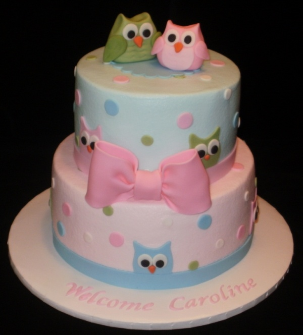 Image detail for -Pottery Barn Owl baby shower cake by SueB on Cake Central