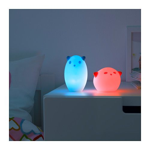 SPÖKA LED night light, animal white, turquoise animal white/turquoise -