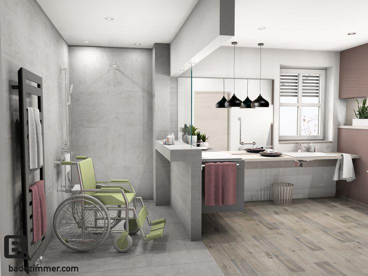 Eine große befahrbare Dusche mit einem Durchmesser von 150 cm ermöglicht nun das Wenden im Rollstuhl. Der dezente Klappsitz und die Haltestange, welche zugleich auch als Brausestange dient, halten sich sehr im Hintergrund. Der Nachteil einer so großen Duschfläche ist, dass es sehr schnell kalt wird. – Die Abmauerung mit einem Glasteil soll dem entgegen wirken.