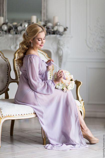 """Будуарное шифоновое платье """"Пудровая сирень"""" — работа дня на Ярмарке Мастеров. Узнать цену и купить: www.ludmilafly.livemaster.ru   Chiffon boudoir dress #handmade #clothes #dress #lilac #beautiful"""