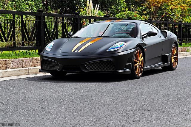 Matte Black & Gold: Black Ferrari, Matte Black, Black Gold, Italian Stallion, Cars Ferrari, Ferrari F430, Dreams Cars, F430 Scuderia, Cars Trucks