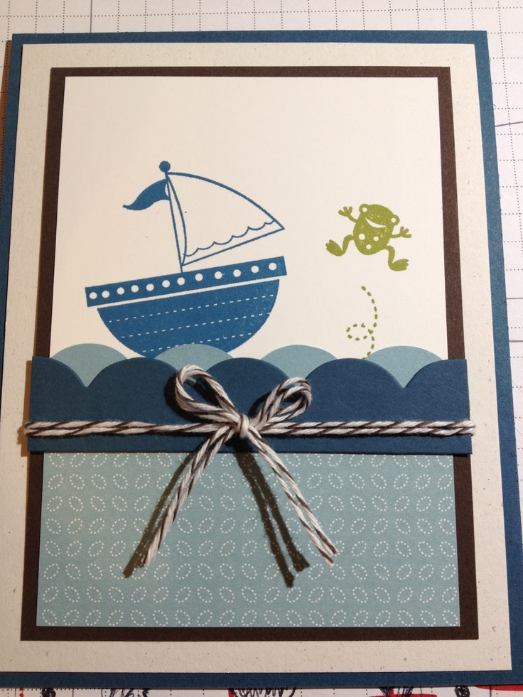 "Moving Forward.  Cute card!  Love the froggie jumping out of the water!  Nice layout. note baker's twine and scallop edge to make ""waves"": Cards Misc, Children Cards, Cute Cards, Cards Ideas, Kids Cards, Cuttlebug Cards, Creative Cards, Cards Cricut, Cards Su"
