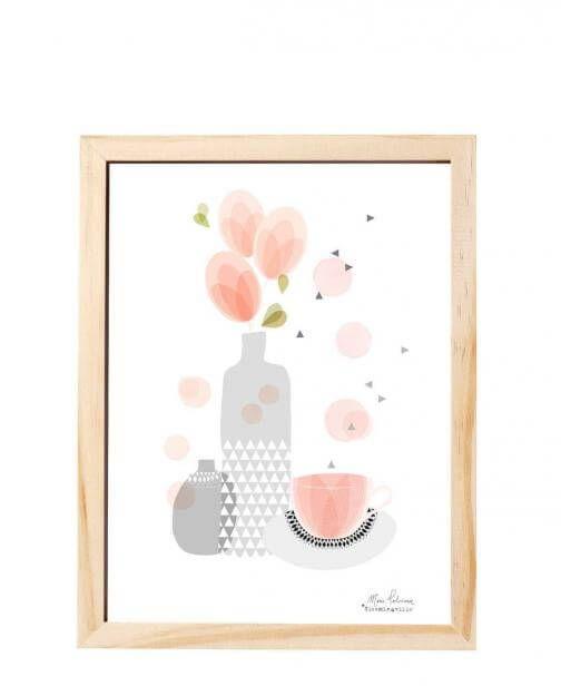 "Zarte Farben: Print ""Tea Break"" von Bloomingville, ca. 16 Euro, www.geliebtes-zuhause.de"