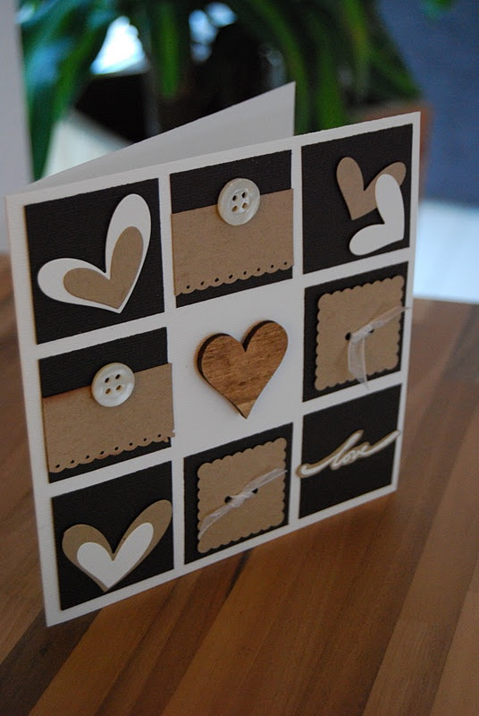 Valentine card ... carte coeurs ... luv how Christelle used black, white and kraft ... grid with hearts ... wonderful!