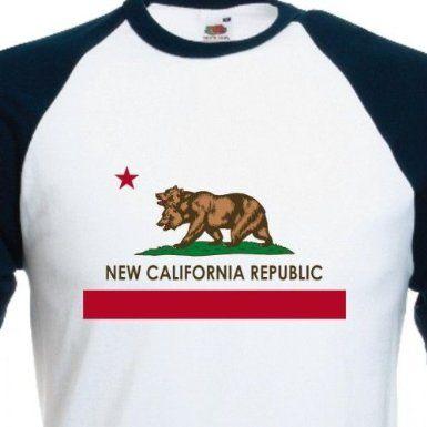 NCR New California Republic Flag Baseball T Shirt Vintage Tee: Amazon.co.uk: Clothing