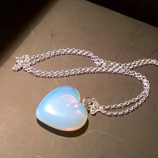 HANDMADE PENDANT HEART MOONSTONE SILVER with Moonstone in Heart Shape 20mm and Silver 925 Chain | Crystal Pepper