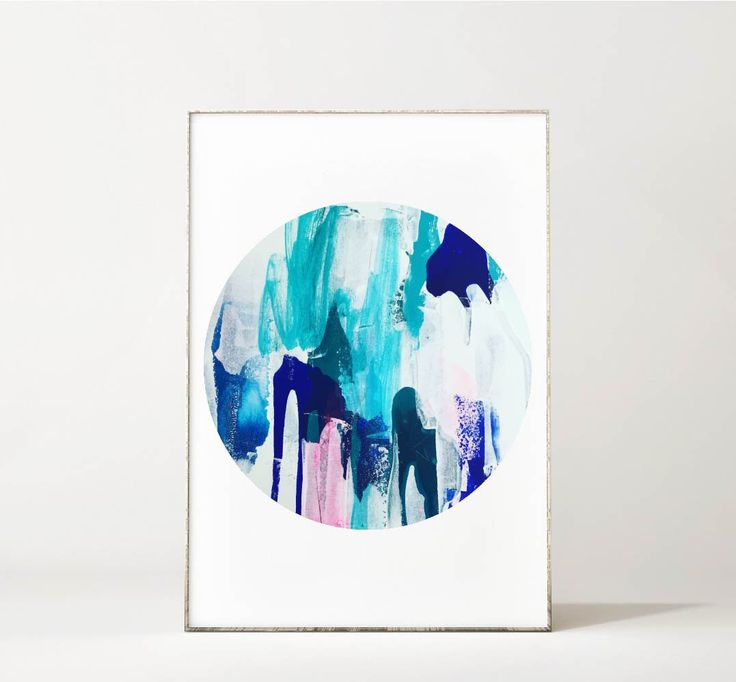 I Heart You Turquoise Blue Abstract Circle Print Round Art by maggimcdonaldart on Etsy