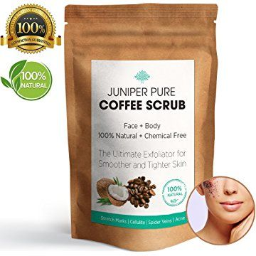 Juniper Pure Coffee Scrub - 100% Natural Exfoliating, Body & Face, Stretch Marks, Cellulite, Jojoba & Almond Essential Oils, Coconut, Cacao Butter, Sea Salt (More Product than Jar) #health #fitness #Nutrition #cosmetics #cellulite #remedies #coffeescrub #body #wellbeing