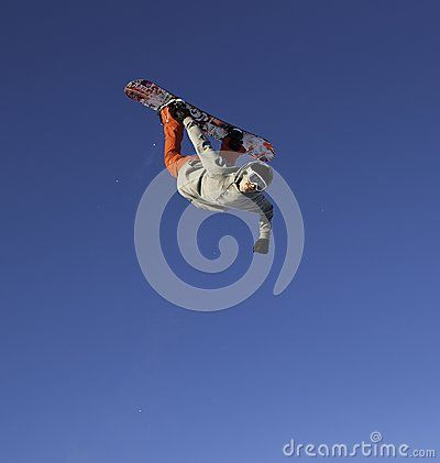 A #snowboarder against the blue sky during an #aerial rodeo or other trick.