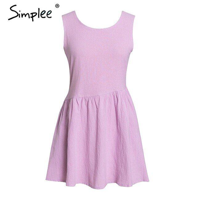 Bohemian oneck women short dress sleeveless ladies summer sundress backless solid plus size dress
