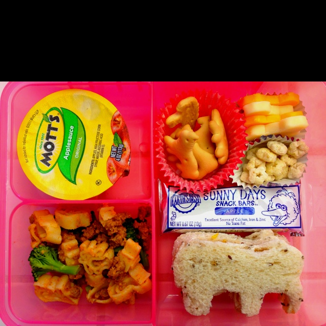My one year olds lunchbox for a zoo trip animal crackers for What to make with leftover applesauce