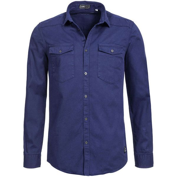 Jack and Jones Hemd CONIX 12086698 Langarm 2 Taschen Slim Fit SALE... (67 BRL) ❤ liked on Polyvore featuring costumes, blue costume and blue halloween costume