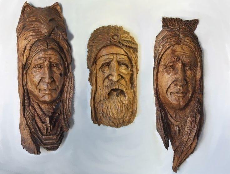 Tree Carvings Faces | Tree Spirits, Portraits - Hebert's Carvings