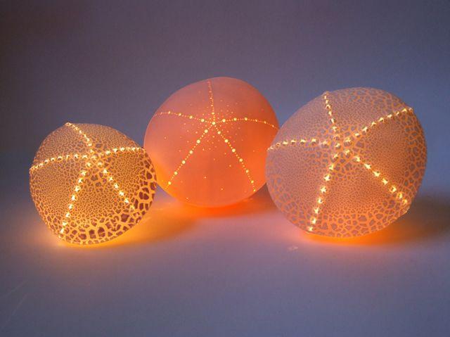 Delicate ceramic sea urchin light by Amy Cooper